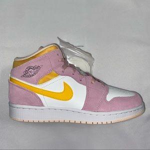 Nike Air Jordan 1 Mid GS Pink Yellow 6.5Y 8W NEW